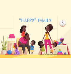 Happy afroamerican family cartoon vector