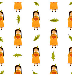 Holiday seamless pattern beautiful indian girls vector