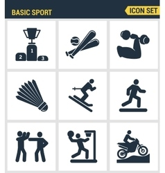 Icons set premium quality of basic sport and vector image