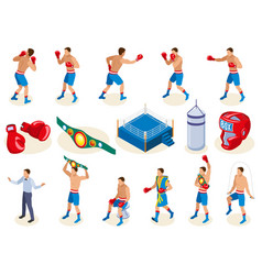 isometric boxers icon set vector image