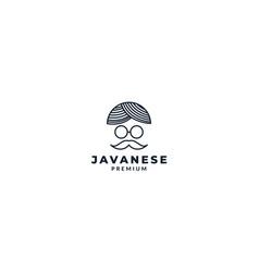 Javanese indonesia hat culture logo design vector