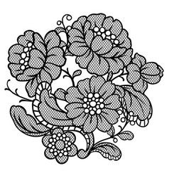 Lace ornamental decoration with flowers vector