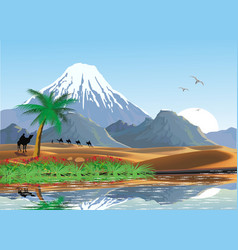 Landscape - mountains and oasis in desert vector