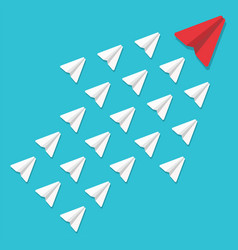 Leadership concept red paper plane leading white vector