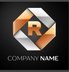 Letter r logo symbol in the colorful rhombus on vector