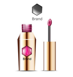 Lipgloss beauty icons template product vector