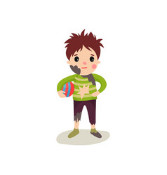 Little boy with muddy face in dirty ragged clothes vector