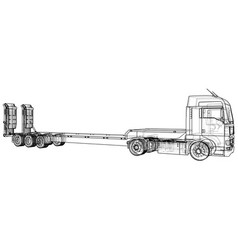Low bed truck trailer wire-frame eps10 format vector