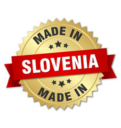 Made in slovenia gold badge with red ribbon vector