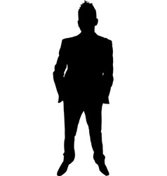 man in suit standing silhouette vector image
