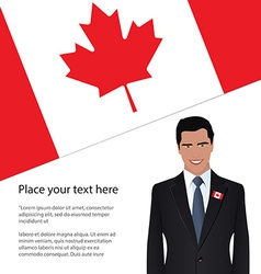 Man wearing suit canada flag vector