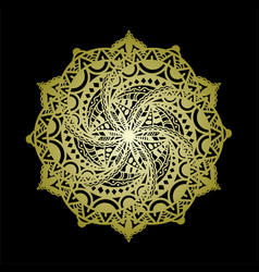 Mandala art or round ornament with golden color vector
