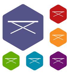 Market counter icons set hexagon vector