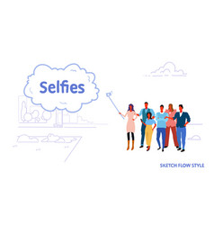 men women people group using selfie stick taking vector image