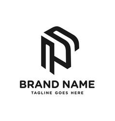 monogram logo letter p vector image