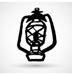 Old dusty oil lamp vector