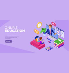 Online distance education technology from home vector