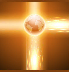 orange background with binary code to the globe vector image