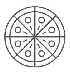 pizza thin line icon party and meal fast food vector image