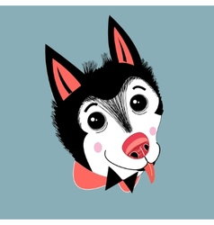 portrait of a puppy huskies vector image