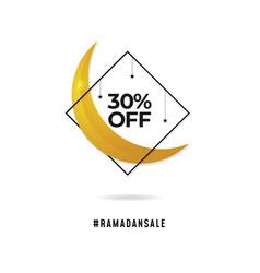 Ramadan sale logo badge crescent moon with vector