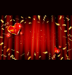 red curtain with gold confetti and hearts vector image