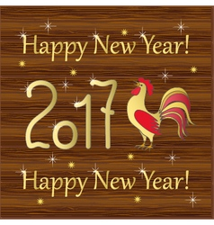 red rooster gold year 2017 on wood vector image vector image