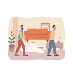 relocation and moving into flat moving furniture vector image