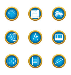 Repair of building icons set flat style vector