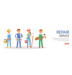 repair service banner inscription worker man vector image