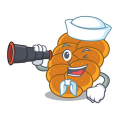sailor with binocular challah mascot cartoon style vector image