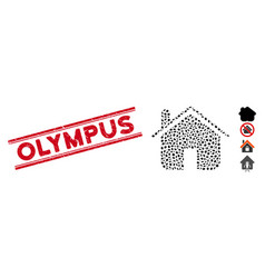 Scratched olympus line stamp with collage home vector