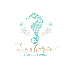seahorse starfish seafood store and fish market vector image