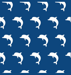 Seamless pattern with cute jumping dolphins white vector