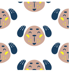 Seamless pattern with dogs cute childish baby vector