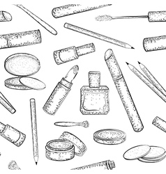 Seamless pattern with hand drawn cosmetics set vector image