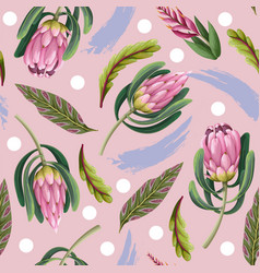 seamless pattern with proteas flowers trendy vector image