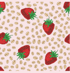 Seamless pattern with strawberry and oat flakes vector