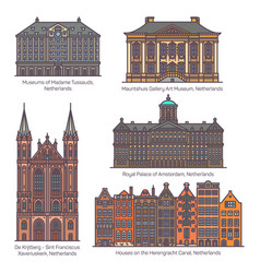 Set isolated netherlands or holland buildings vector