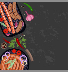Set of grilled sausages vector