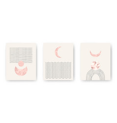 Set with trendy set printable cards with boho vector