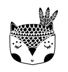 Silhouette cute owl head animal with feathers vector