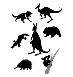 Silhouettes of australian animals vector