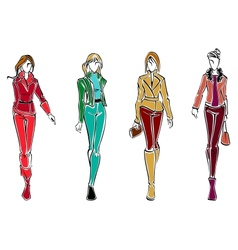 Sketches of fashion models vector image