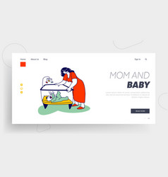 sleepless night mother care love landing page vector image