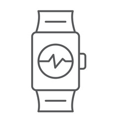 smart watch thin line icon clock and digital vector image