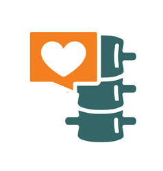 spine with heart in chat bubble colored icon vector image