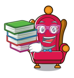 Student with book king throne mascot cartoon vector