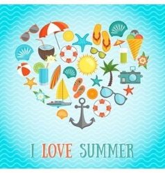 Summer Heart Poster vector image