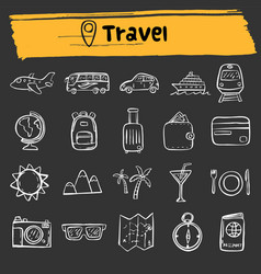 travel doodle sketch icon set vector image